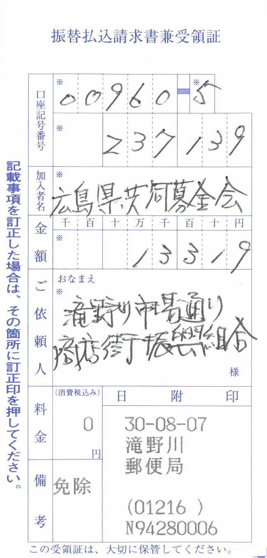 広島市集中豪雨被害救援募金のご報告